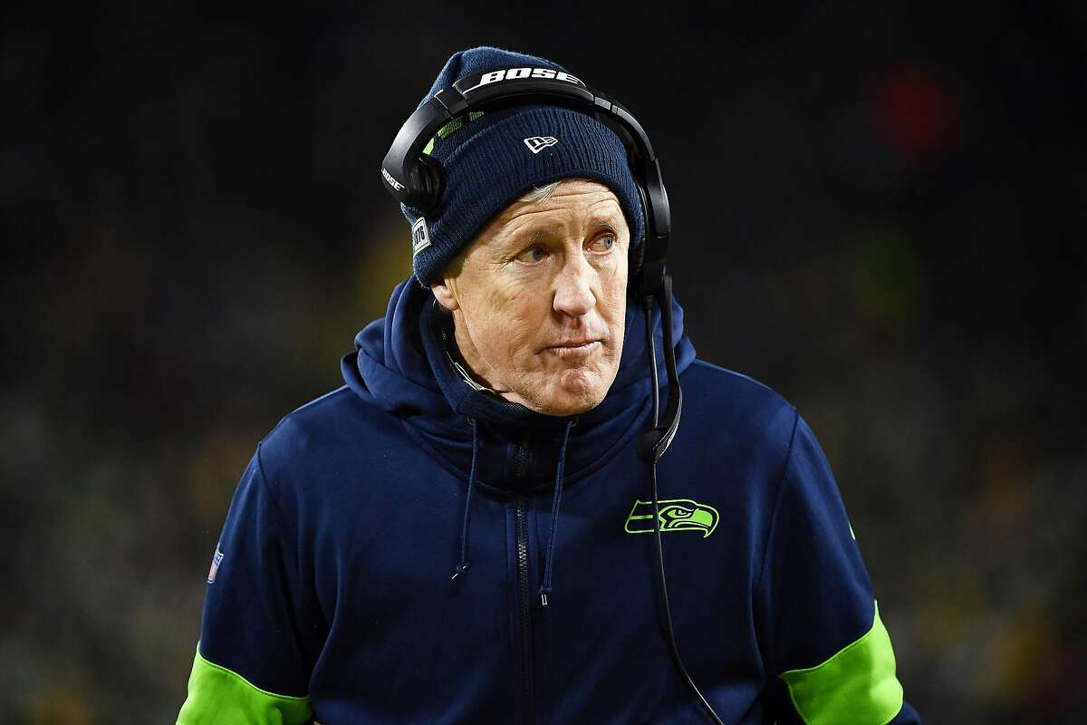 GREEN BAY, WISCONSIN - JANUARY 12: Head coach Pete Carroll of the Seattle Seahawks looks on in the NFC Divisional Playoff game against the Green Bay Packers at Lambeau Field on January 12, 2020 in Green Bay, Wisconsin. (Photo by Stacy Revere/Getty Images)