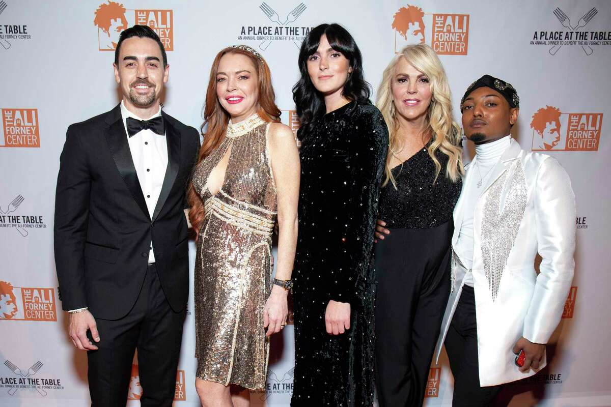 NEW YORK, NEW YORK - OCTOBER 25: Michael Lohan Jr., Lindsay Lohan, Aliana Lohan, Dina Lohan and guest attend the 2019 Ali Forney Center Gala at Cipriani Wall Street on October 25, 2019 in New York City. (Photo by Santiago Felipe/Getty Images)
