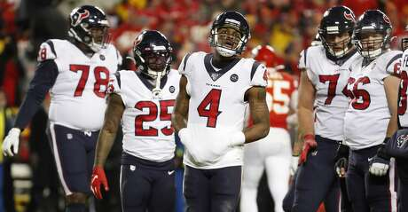 Houston Texans quarterback Deshaun Watson (4) walks around the huddle during a time out during the fourth quarter of an AFC divisional playoff game against the Kansas City Chiefs at Arrowhead Stadium on Sunday, Jan. 12, 2020, in Kansas City, Mo.