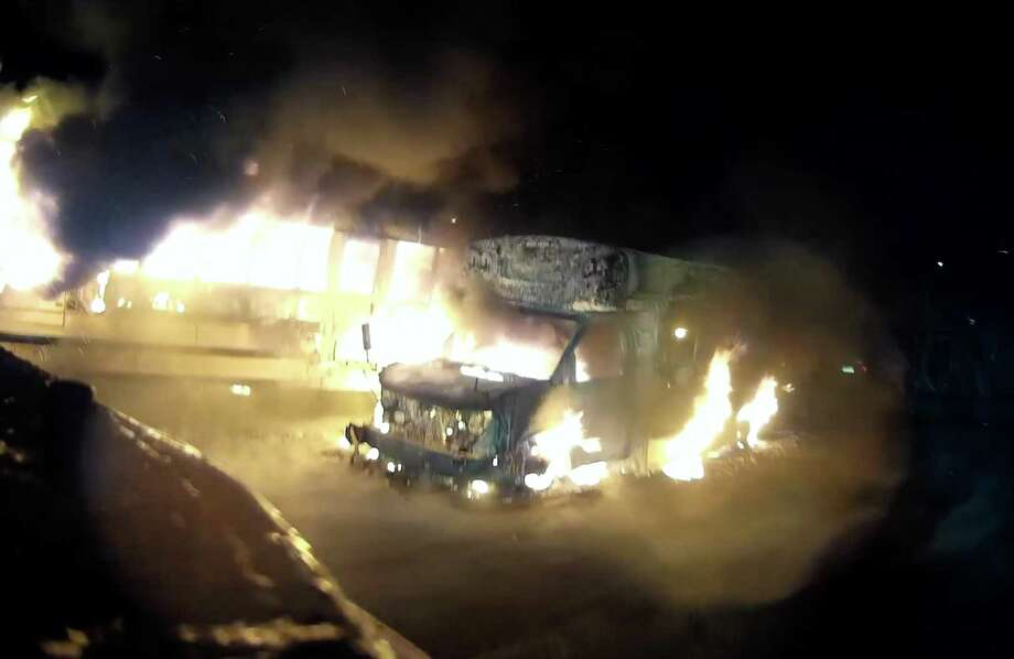 Images of the multi-bus fire on Henry Street captured on the helmet-mounted camera of Stony Hill Chief Engineer Patrick Magyar. Photo: Stony Hill Volunteer Fire Company / Facebook