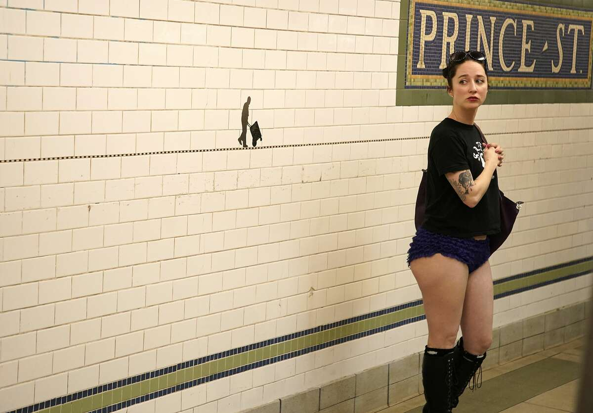 NEW YORK, UNITED STATES - 2020/01/12: A woman with no pants waits in the subway. As a part of a comedic stunt in 2002 seven riders took their first