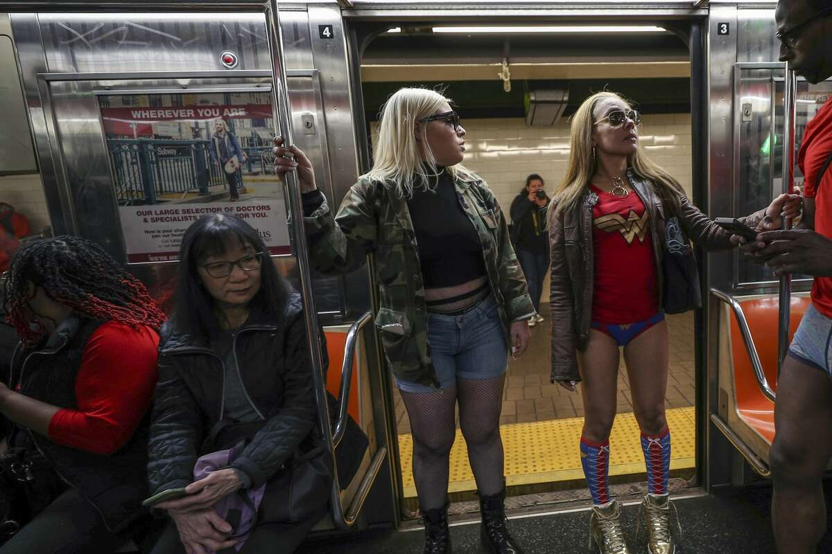 NEW YORK, USA - JANUARY 12: Participants take part in 19th annual 'No Pants Subway Ride' in New York City subway on January 12, 2020 in New York, United States. (Photo by Tayfun Coskun/Anadolu Agency via Getty Images)