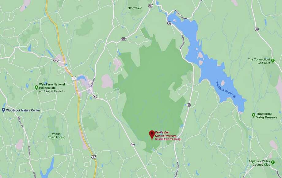 Firefighters found two people who became lost in the woods of the Devil's Den Preserve on Sunday, Jan. 12, 2020. With 1,746 acres, Devil's Den is the largest preserve in Fairfield County. Photo: Google Maps