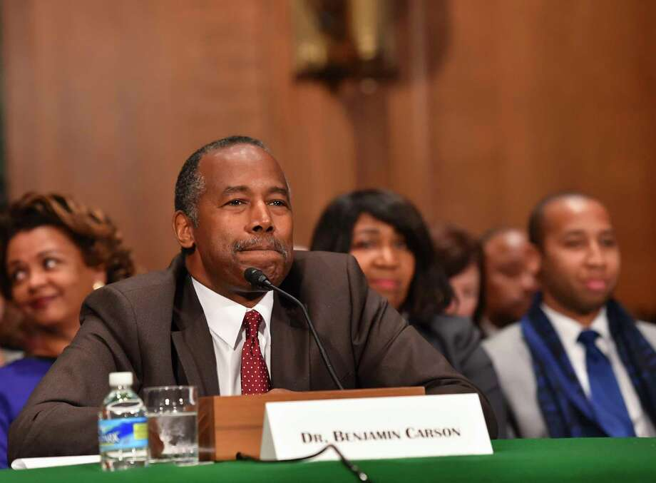 Ben Carson appears before Senate Housing Committee during confirmation hearings at the Dirksen Senate Office Building in January 2017. Photo: Washington Post Photo By Ricky Carioti. / The Washington Post