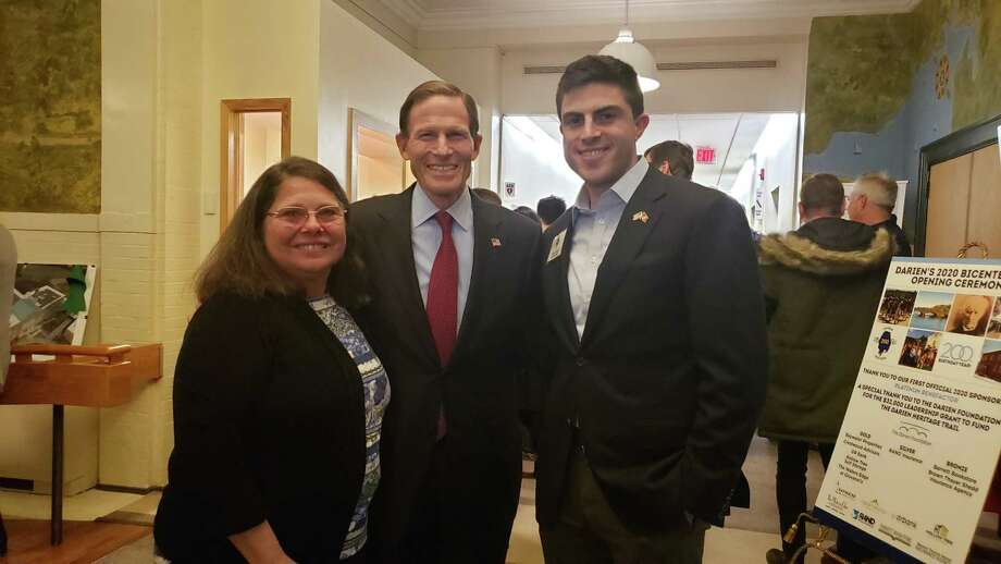 From left, Darien RTM member Christine Castles, with Richard and Matthew Blumenthal at Darien's 2020 Bicentennial Opening Ceremony Photo: Sandra Diamond Fox / Hearst Connecticut Media / Connecticut Post