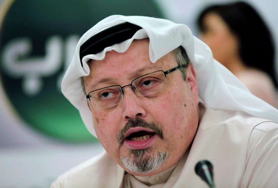 "In this Dec. 15, 2014 file photo, Saudi journalist Jamal Khashoggi speaks during a press conference in Manama, Bahrain. CNN was honored for ""The Disappearance of Jamal Khashoggi,"" about the murder of a Saudi journalist who had criticized his country's crown prince. Photo: Hasan Jamali / Associated Press / Copyright 2014 The Associated Press. All rights reserved."