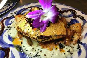 The Huachinango al Guajillo at Los Azulejos Restaurante Bar featured roasted red snapper over pureed cauliflower, and potatoes with a flavorful guajillo chile sauce.