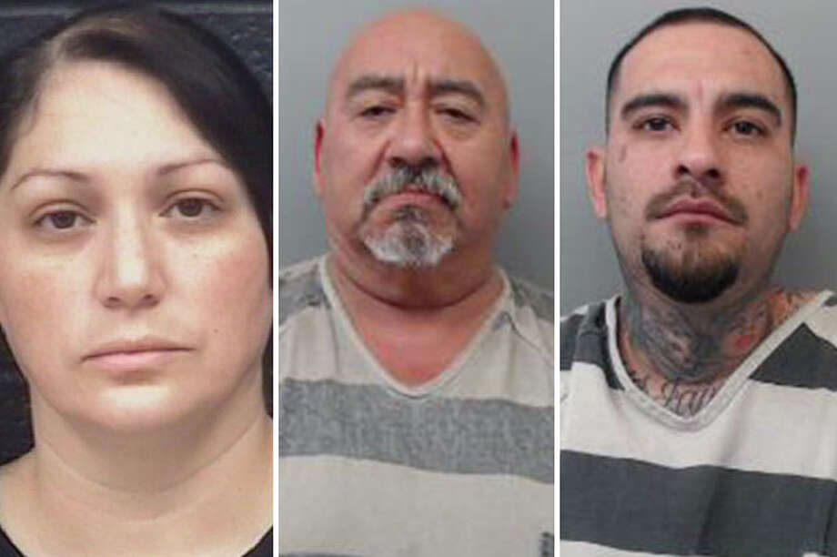 Three suspected drug dealers were arrested this week after authorities raided two homes where they discovered drugs, cash and weapons, according to Laredo police. Photo: Courtesy
