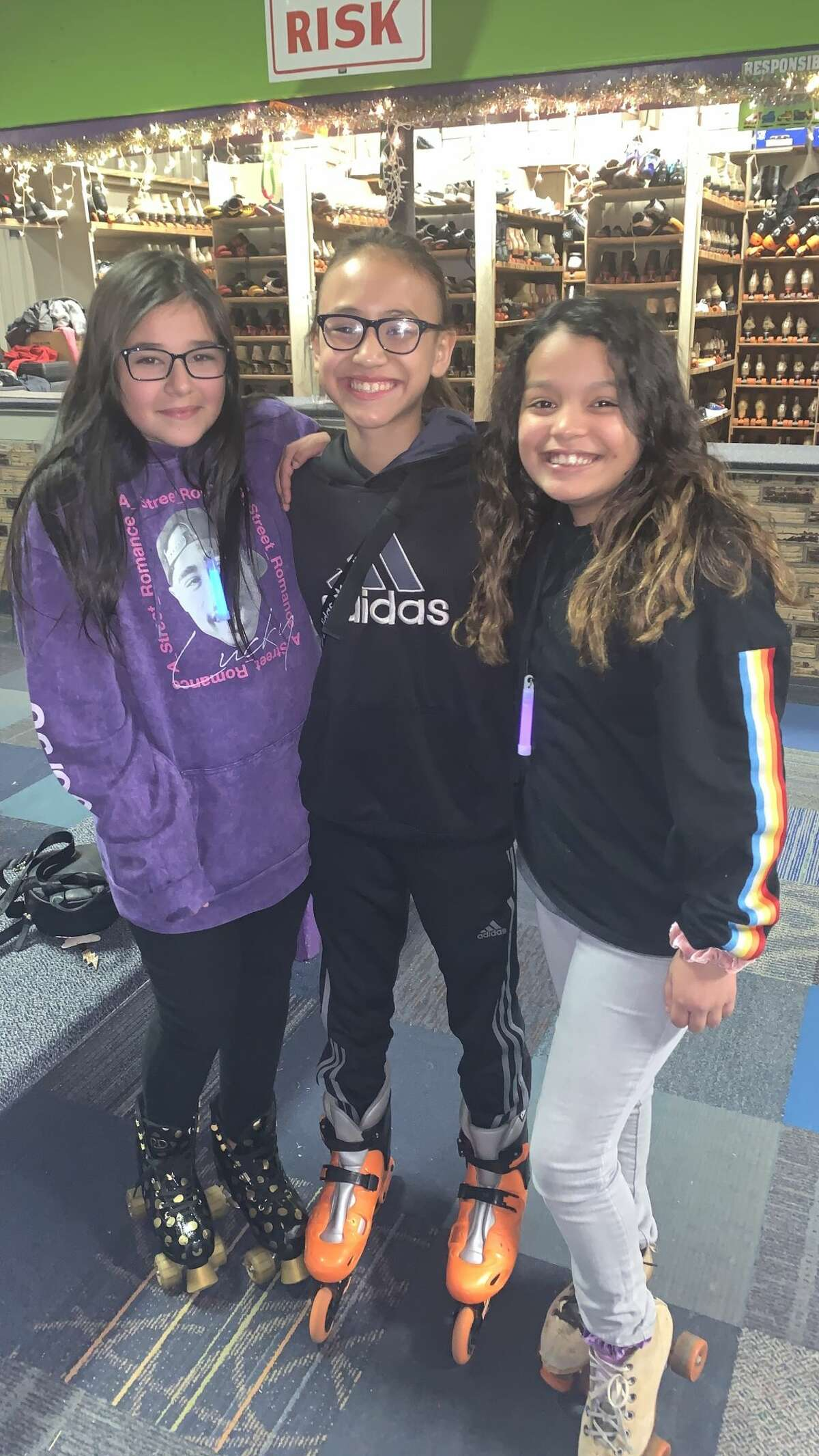 Roller skating: Lily Conde, from left, Abby Torres and Alizae Rangel
