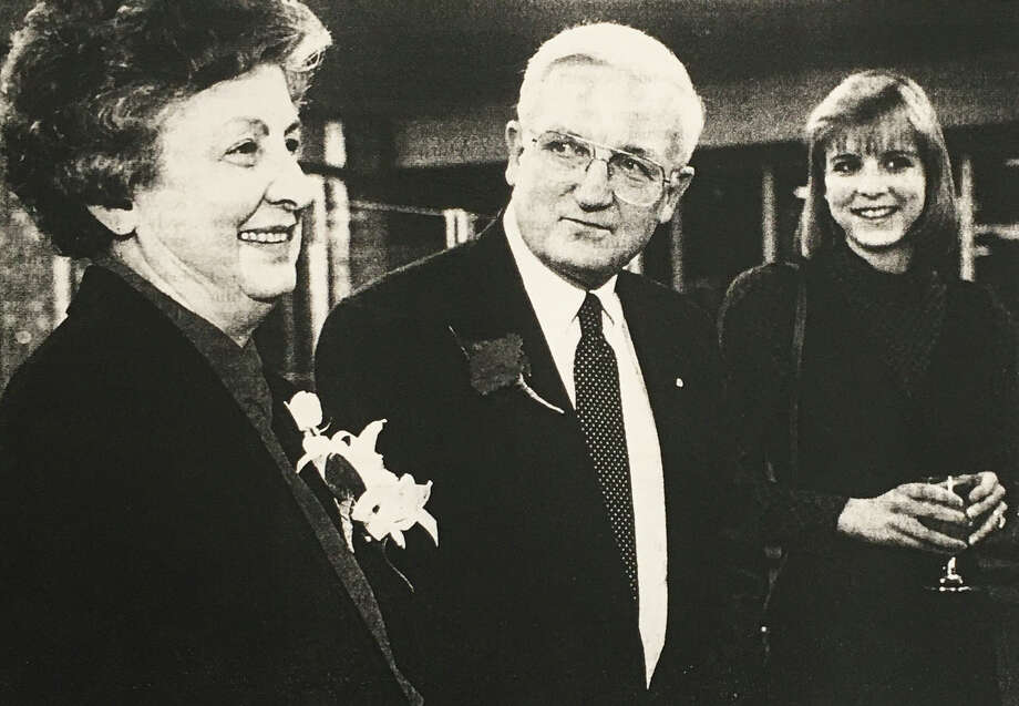 Jean Ott, left, Alan Ott, center, and their daugher Amy Ott Bushey, right, during Alan's retirement party at Chemical Bank in 1996. (Daily News file) Photo: (Daily News File)