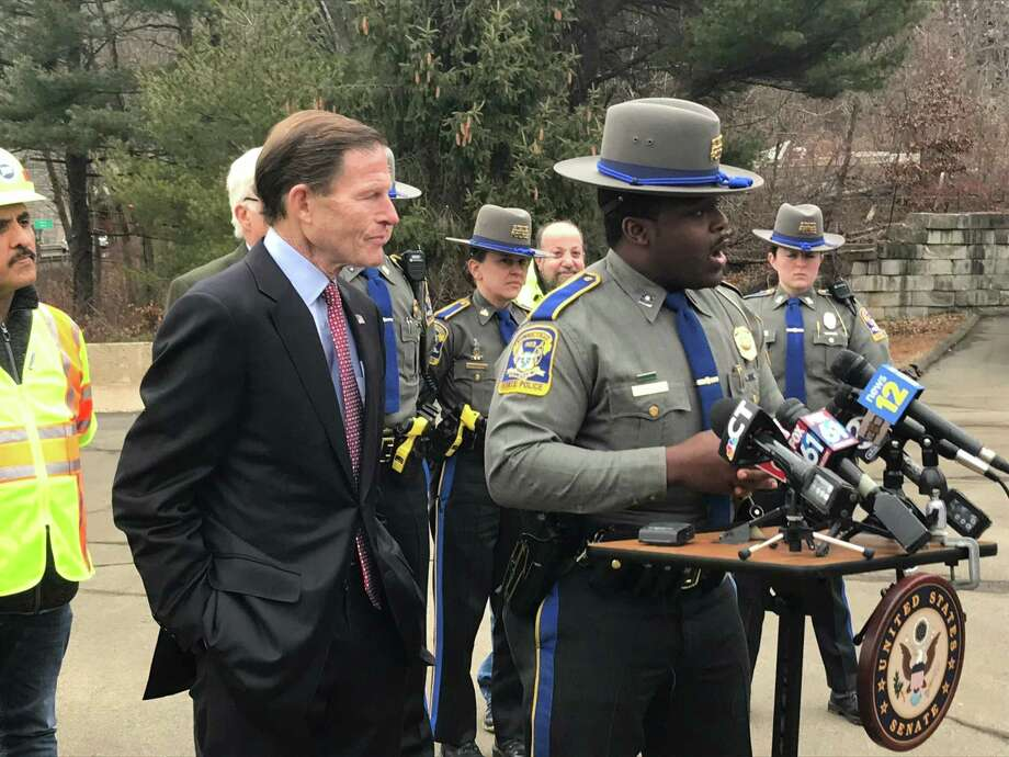 State Trooper Josue Dorelus speaks with reporters on Jan. 13, 2020. Photo: Brian Zahn/Hearst Connecticut Media