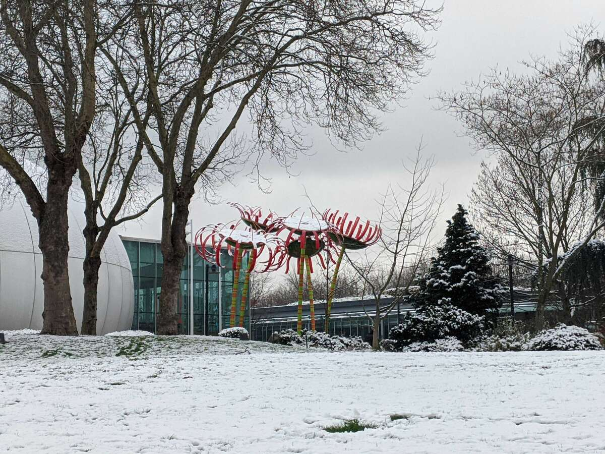 Seattle Center blanketed in snow on Monday, Jan. 13, 2020.