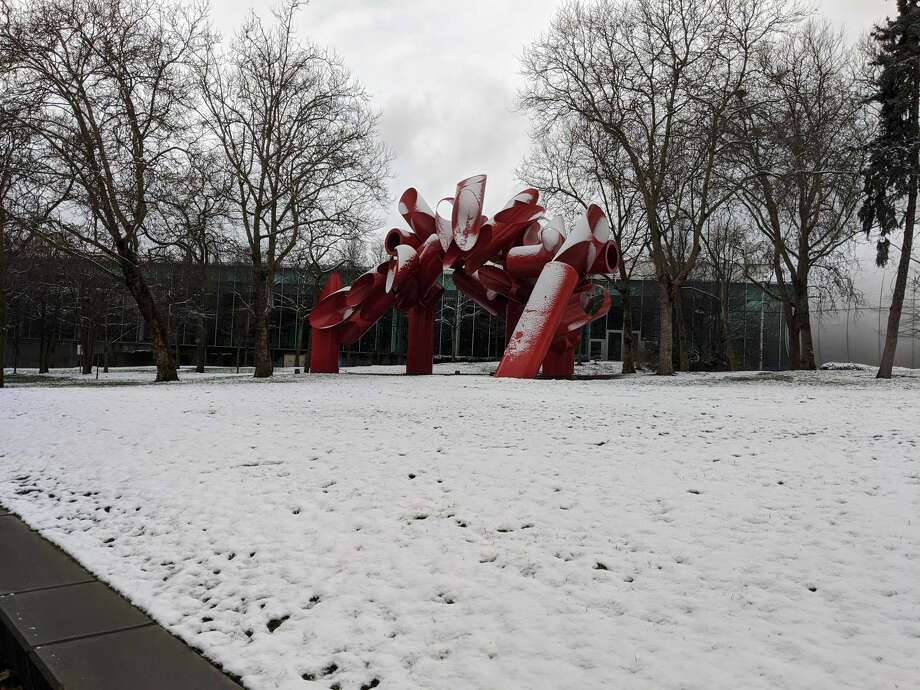 Seattle Center blanketed in snow on Monday, Jan. 13. Photo: By Natalie Guevara/SeattlePI