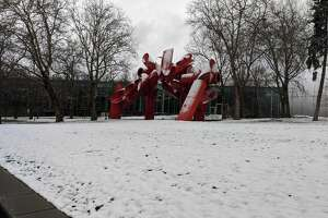 Seattle Center blanketed in snow on Monday, Jan. 13.