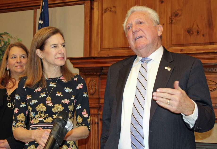 Connecticut's Lt. Gov. Susan Bysiewicz and Norwalk Mayor Harry Rilling at a Jan. 13, 2020 press conference at Norwalk City Hall on the 2020 census. Photo: Justin Papp