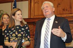 Connecticut's Lt. Gov. Susan Bysiewicz and Norwalk Mayor Harry Rilling at a Jan. 13, 2020 press conference at Norwalk City Hall on the 2020 census.