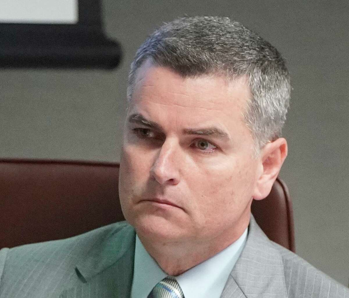 Former Harris County Department of Education board president Josh Flynn, shown here during a February 2019 meeting, sued to get on the Harris County Republican Party primary ballot for a state House seat. Following mediation, the party and Flynn announced he would be on the ballot, even thought county party Chairman Paul Simpson believes he remains ineligible.
