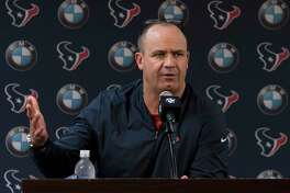 Houston Texans Head Coach Bill O'Brien speaks to the press at NRG Stadium after the season-ending loss to Kansas City Chiefs last night on Monday, Jan. 13, 2020, in Houston.