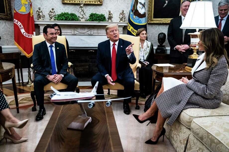 President Trump and first lady Melania Trump meet with Guatemalan President Jimmy Morales and first lady Patricia Marroquín last month in the Oval Office. Photo: Washington Post Photo By Jabin Botsford. / The Washington Post