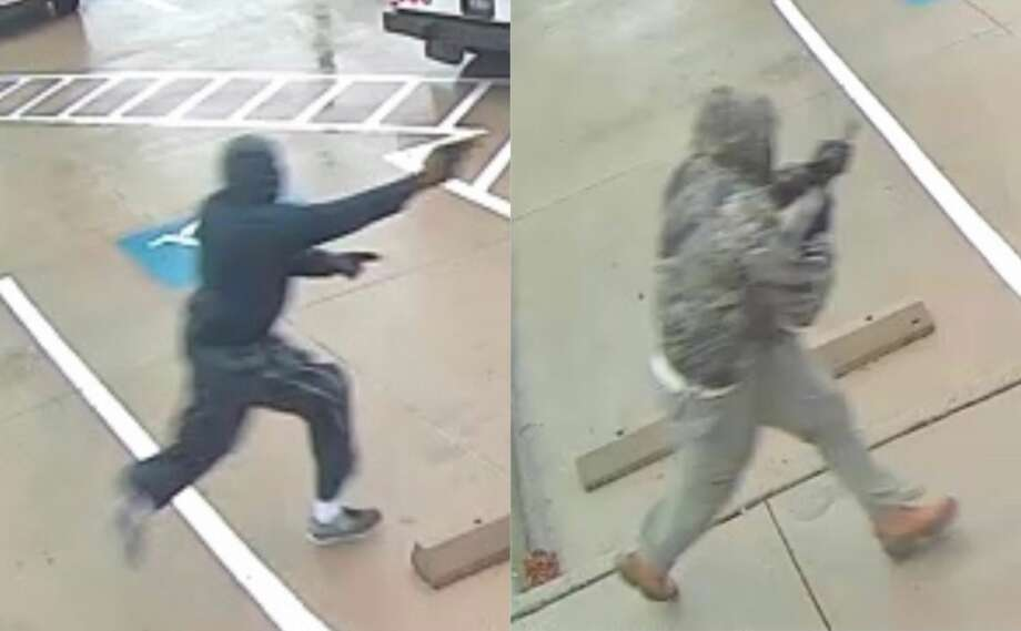 Surveillance video shows two men wanted for disarming an armored truck guard during an attempted robbery in the 6500 block of San Felipe on Monday, Jan. 13, 2020. Photo: FBI Houston