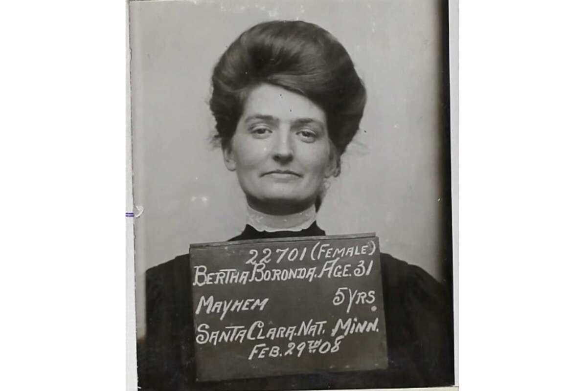 """The mugshot of Bertha Boronda after she was convicted in 1908 of """"mayhem"""" against her husband Frank. She was sentenced to 5 years in San Quentin, which then still had a women's prison."""