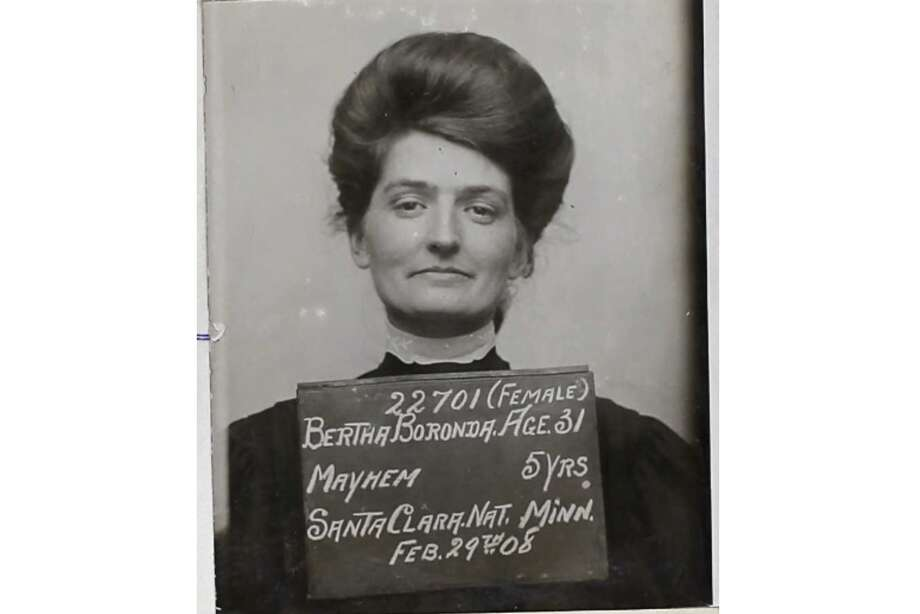 "The mugshot of Bertha Boronda after she was convicted in 1908 of ""mayhem"" against her husband Frank. She was sentenced to 5 years in San Quentin, which then still had a women's prison. Photo: San Quentin State Prison"