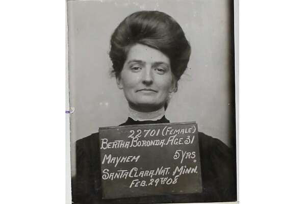 "The mugshot of Bertha Boronda after she was convicted in 1908 of ""mayhem"" against her husband Frank. She was sentenced to 5 years in San Quentin, which then still had a women's prison."