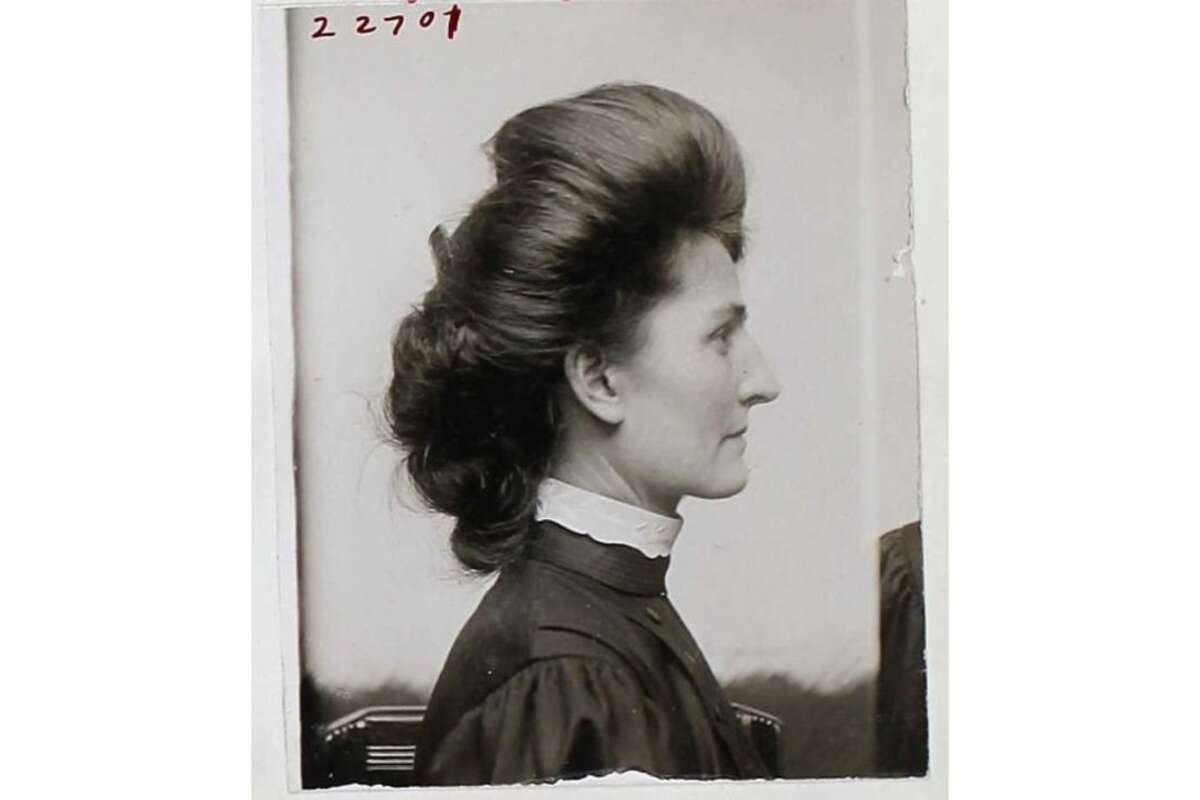 The mugshot of Bertha Boronda after she was convicted in 1908 of
