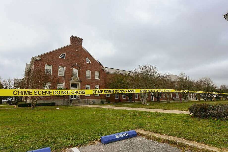 Police tape secures a building Dec. 7, 2019, following the shootings at the Naval Air Station in Pensacola, Fla. Three American service members were killed. Photo: Federal Bureau Of Investigation