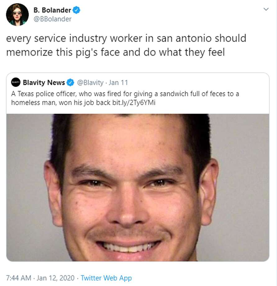 @BBolander: every service industry worker in san antonio should memorize this pig's face and do what they feel Photo: Twitter Screengrab