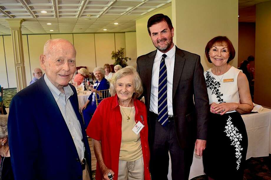 Pictured from left are Dr. Wally Wilkerson (Chairman, Montgomery County Republican Party); Lilija Grumulaitis (Organizing officer of the Montgomery County Republican Women's Club,) Sen. Brandon Creighton (Speaker), and Mary Lea Kirk (MCRW President) in 2019 at the November Montgomery County Republican Women meeting. Grumulaitis passed away on Jan. 10 and a celebration of her life took place on Wednesday in Plantersville. Photo: Courtesy Photo