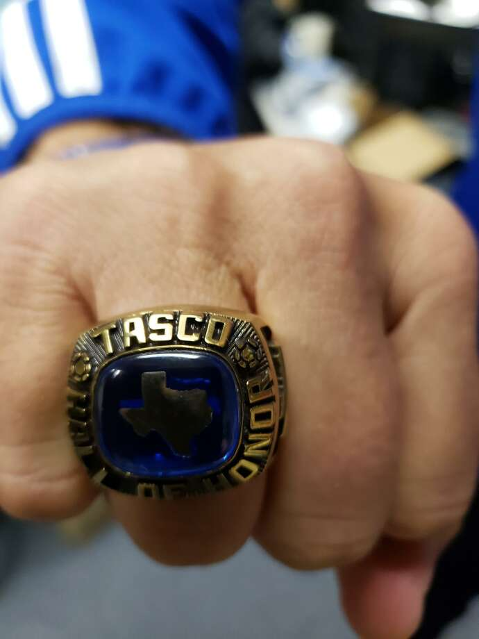 Friendswood boys' soccer head coach Stephen Peter displays the ring he received after recently being inducted into the Texas Association of Soccer Coaches Hall of Honor. Photo: Ted Dunnam