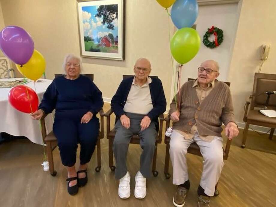 Wesley Village newest centenarians, left to right, Anna Curry, Bill Jakupkovic, and Milton Kundert. Photo: Contributed Photo / Connecticut Post