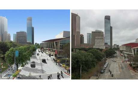 A composite showing a rendering, left, and photograph, right, of Bagby Street. Facing south from Bayou Place with Tranquillity Park and the Hobby Center in the foreground, is being reconstructed to add more room for pedestrians and bicyclists and increase drainage capacity.