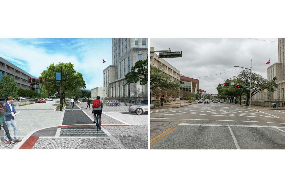A composite showing a rendering, left, and photograph, right, of Bagby Street facing north. Central Library with City Hall in the foreground, is being reconstructed to add more room for pedestrians and bicyclists and increase drainage capacity.