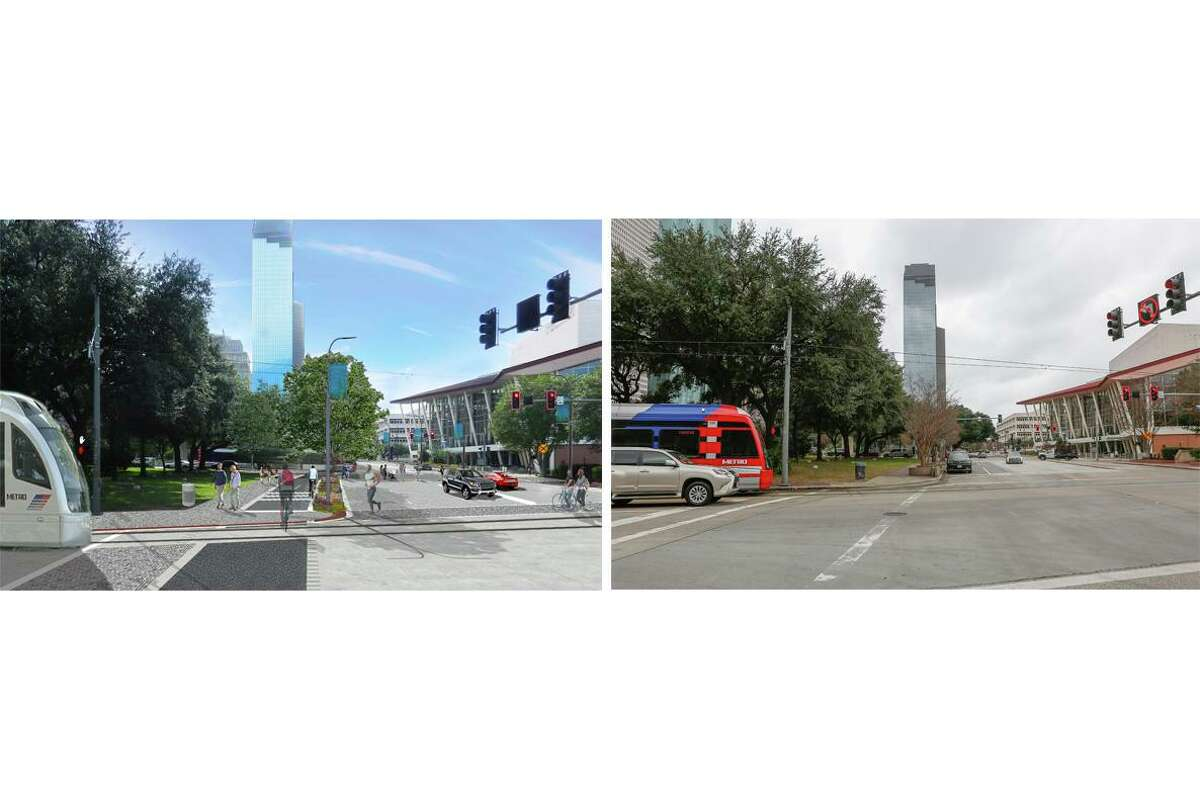 A composite showing a rendering, left, and photograph, right, of Bagby Street, facing south from Tranquillity Park. It is being reconstructed to add more room for pedestrians and bicyclists and increase drainage capacity.