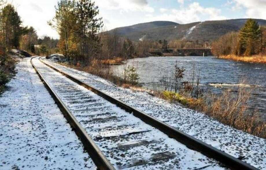Rail tracks along River Road in North Creek Thursday Dec. 8, 2011. Photo: John Carl D'Annibale / Times Union