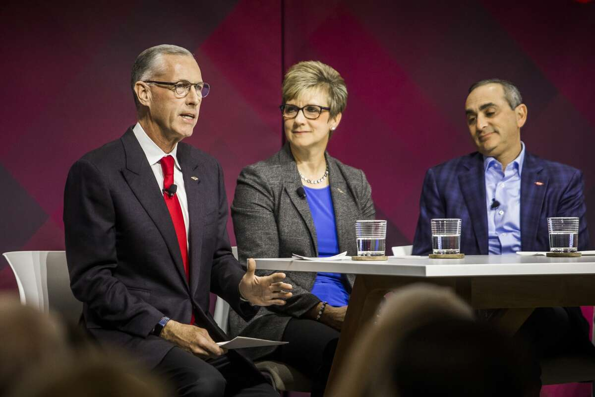 From left, Dow's Jim Fitterling, chief executive officer, Mary Draves, vice president of environment, health and safety and chief sustainability officer, and Howard Ungerleider, president & chief financial officer, participate in a panel during the grand opening of the Sylvia Stoesser Center on the Willard H. Dow Campus Monday, Jan. 13, 2020 in Midland. (Katy Kildee/kkildee@mdn.net)