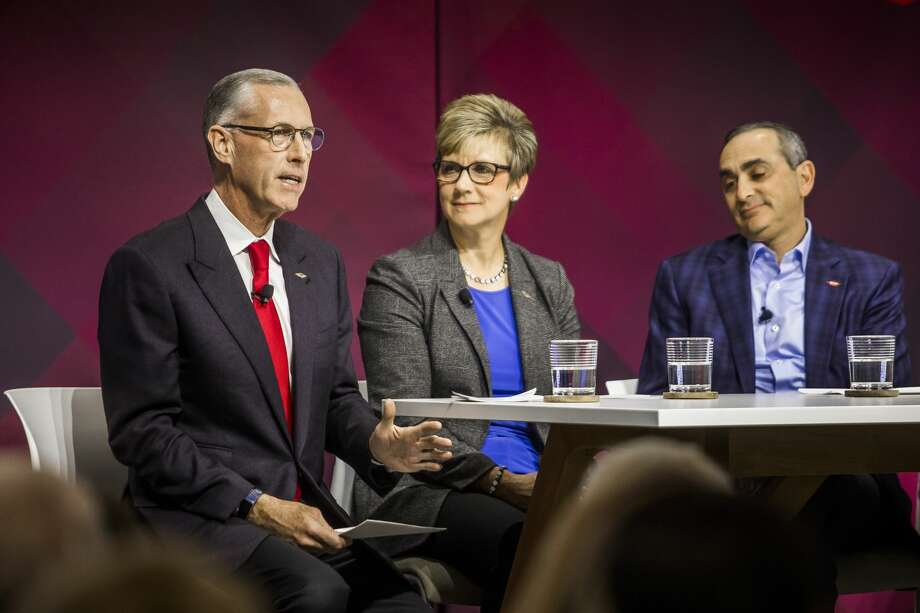 From left, Dow's Jim Fitterling, chief executive officer, Mary Draves, vice president of environment, health and safety and chief sustainability officer, and Howard Ungerleider, president & chief financial officer, participate in a panel during the grand opening of the Sylvia Stoesser Center on the Willard H. Dow Campus Monday, Jan. 13, 2020 in Midland. (Katy Kildee/kkildee@mdn.net) Photo: (Katy Kildee/kkildee@mdn.net)