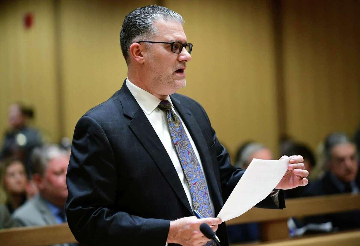 State's Attorney Richard Colangelo addresses Judge John Blawie during last week's arraignments in state Superior Court in Stamford.