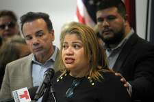City Council President Aidee Nieves speaks at a news conference at the Morton Government Center in Bridgeport on Monday. City and community leaders gathered to announce plans to collect cash donations to benefit those affected by the recent earthquakes in Puerto Rico.
