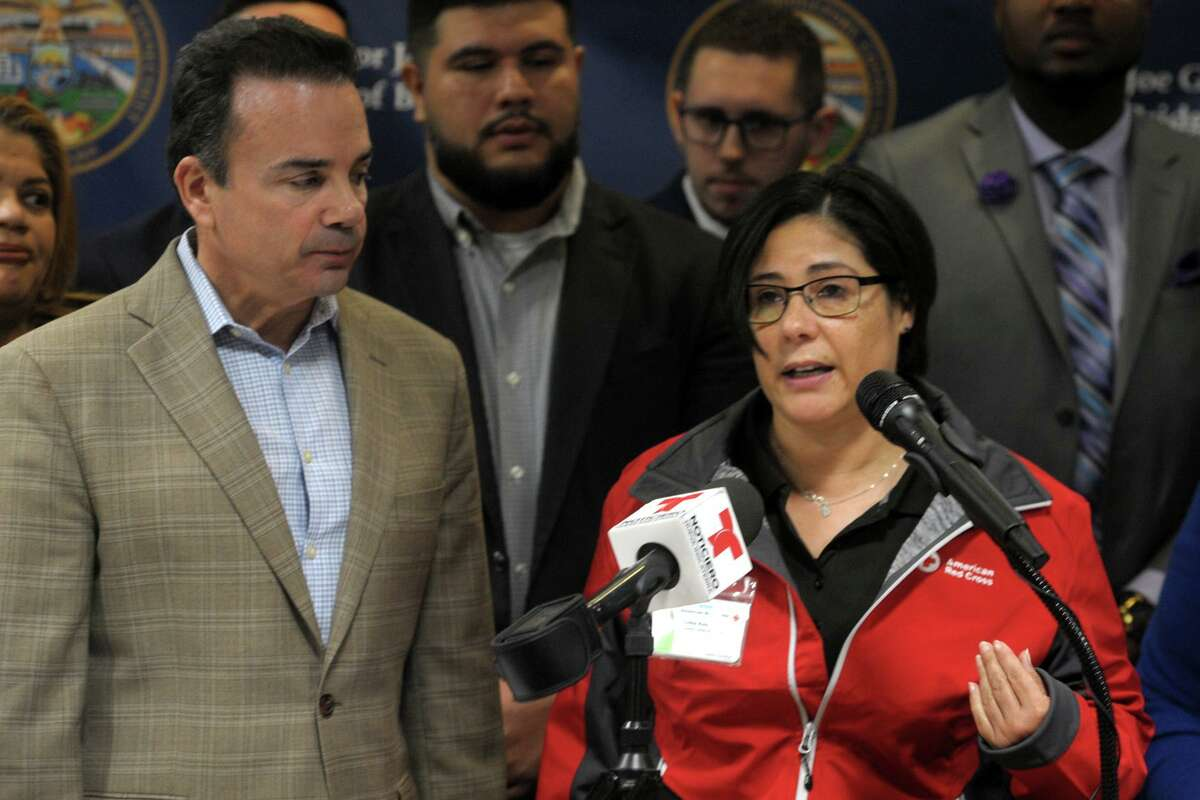 Ivette Ruiz from the American Red Cross speaks at a news conference at the Morton Government Center, in Bridgeport, Conn. Jan. 13, 2020. City and community leaders gathered to announce plans to collect cash donations to benefit those affected by the recent earthquakes in Puerto Rico.