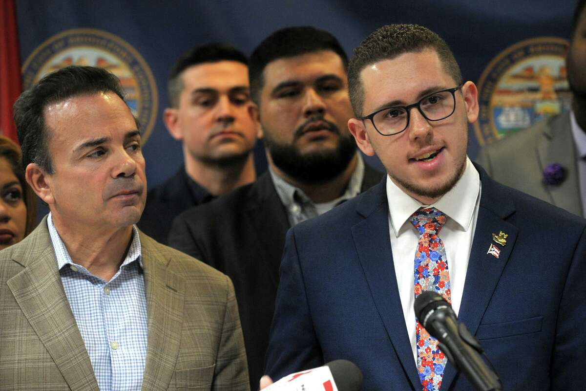 State Rep. Antonio Felipe speaks at a news conference at the Morton Government Center, in Bridgeport, Conn. Jan. 13, 2020. City and community leaders gathered to announce plans to collect cash donations to benefit those affected by the recent earthquakes in Puerto Rico.