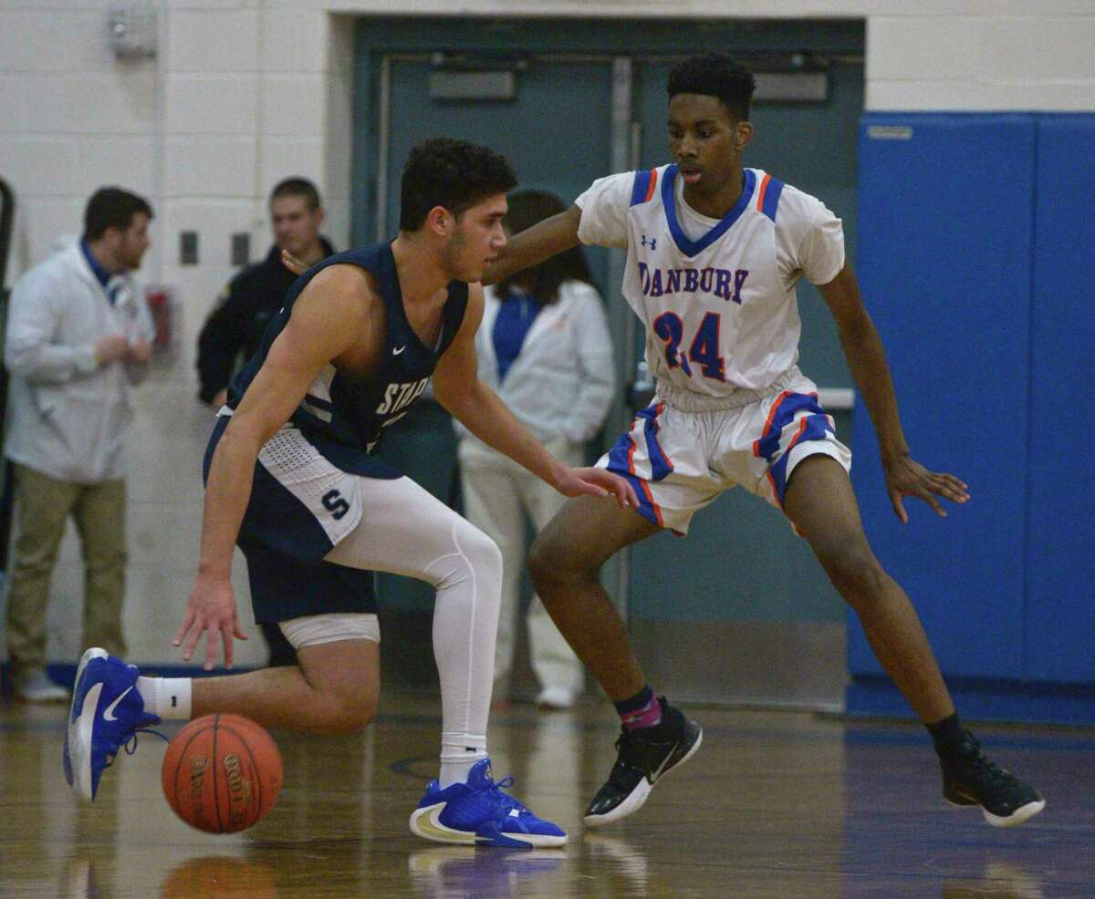 Boys basketball game between Staples and Danbury high schools. Tuesday night, January 7, 2020, at Danbury High School, Danbury, Conn.