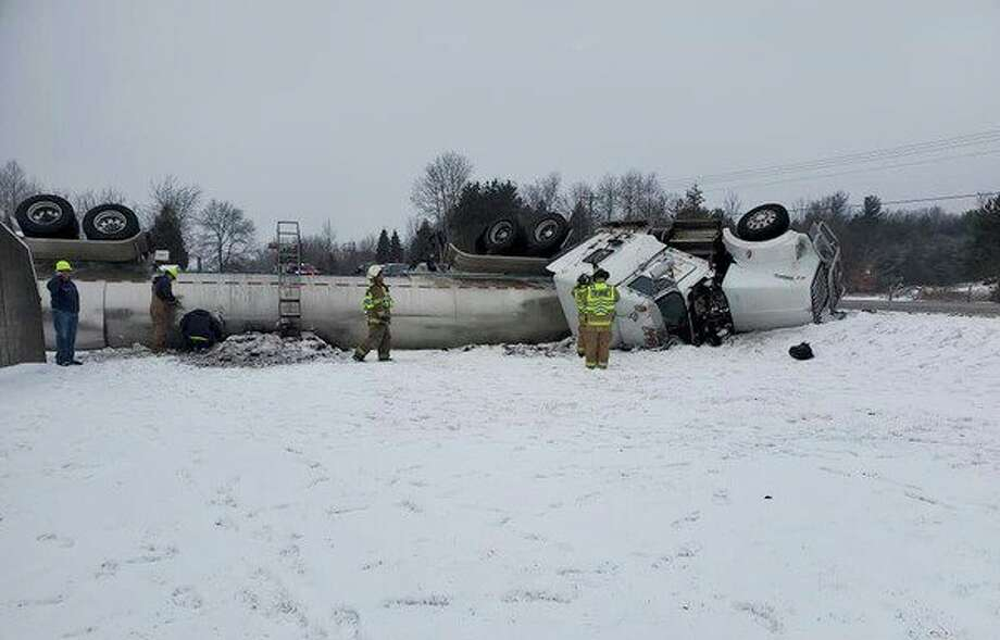 Osceola County Sheriff's Office deputies responded to a report of a rollover crash involving a semi-tanker about 10:30 a.m. Monday. on U.S. 10 near 200th Avenue in Reed City. (Courtesy photo)