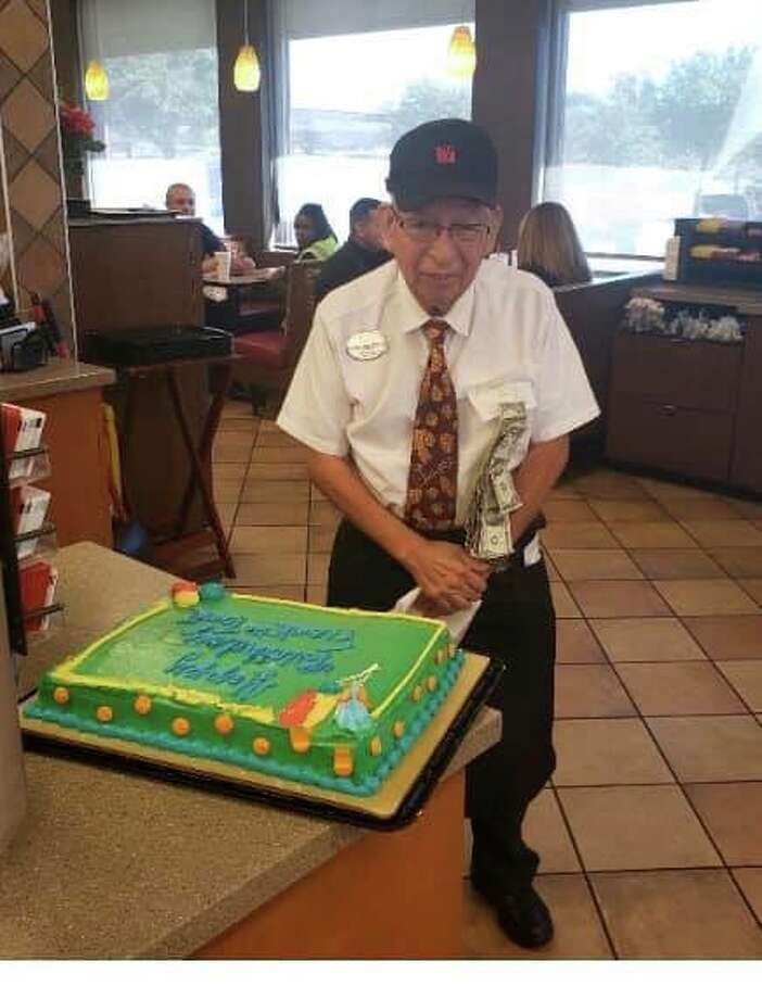 """His name is Francisco """"Frank the Tank"""" Pedraza and over the weekend he celebrated his 87th birthday with much fanfare. The entire restaurant returned the love by sharing cake with him, pinning dollars on his shirt and singing the Air Force veteran """"Happy Birthday"""" Photo: Courtesy, Bev Pfluke"""