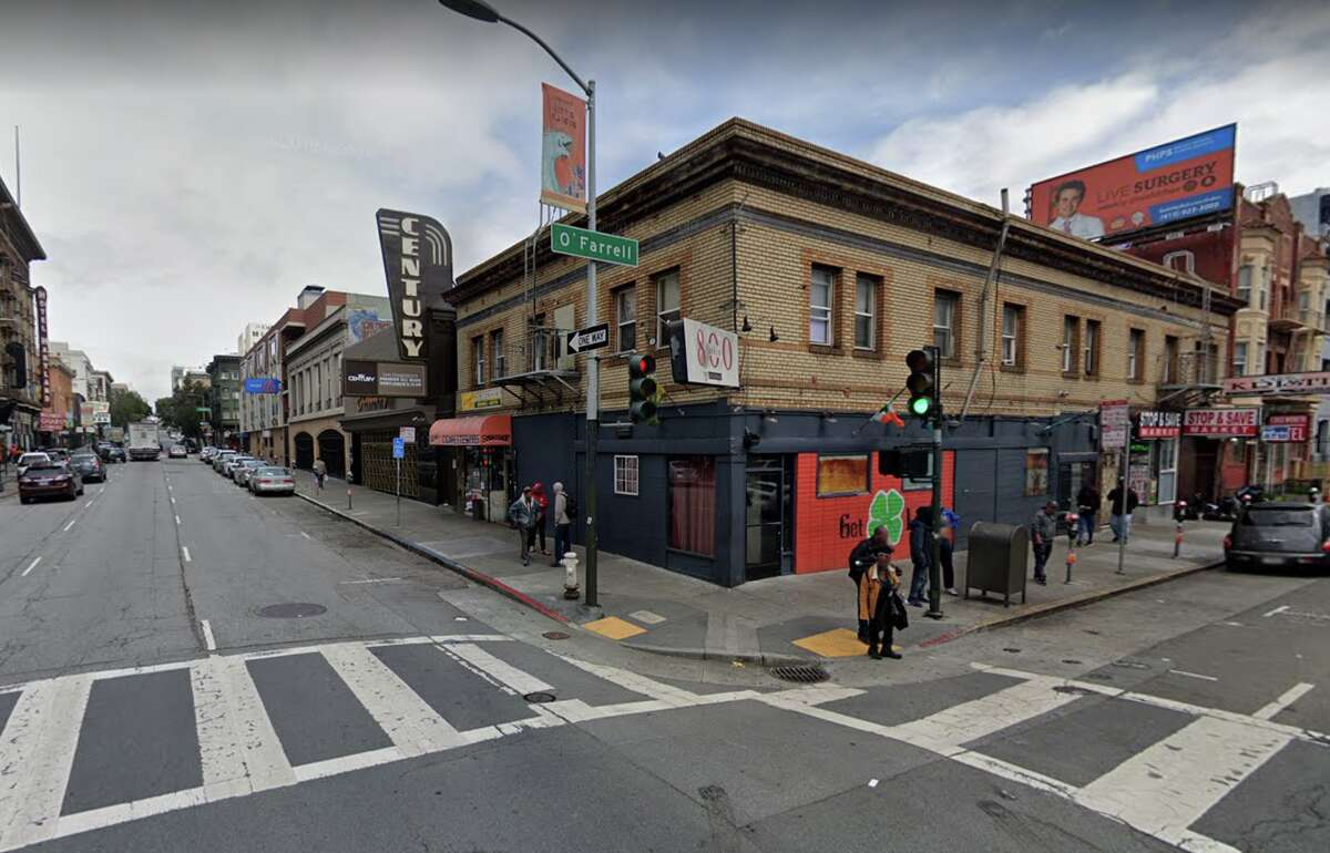 The corner of Larkin and O'Farrell Streets, where officers found 32-year-old Emma Hunt of San Francisco suffering from a gunshot wound on the sidewalk