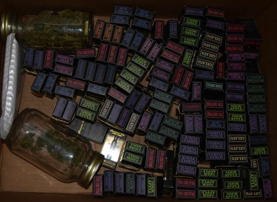 141 cartridges containing THC (Photo courtesy of the State Police)