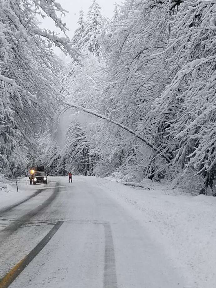 U.S. 2 between Gold Bar and Stevens Pass summit in both directions will remain closed until further notice because of downed trees and power lines, according to WSDOT. Photo: Courtesy Of WSDOT