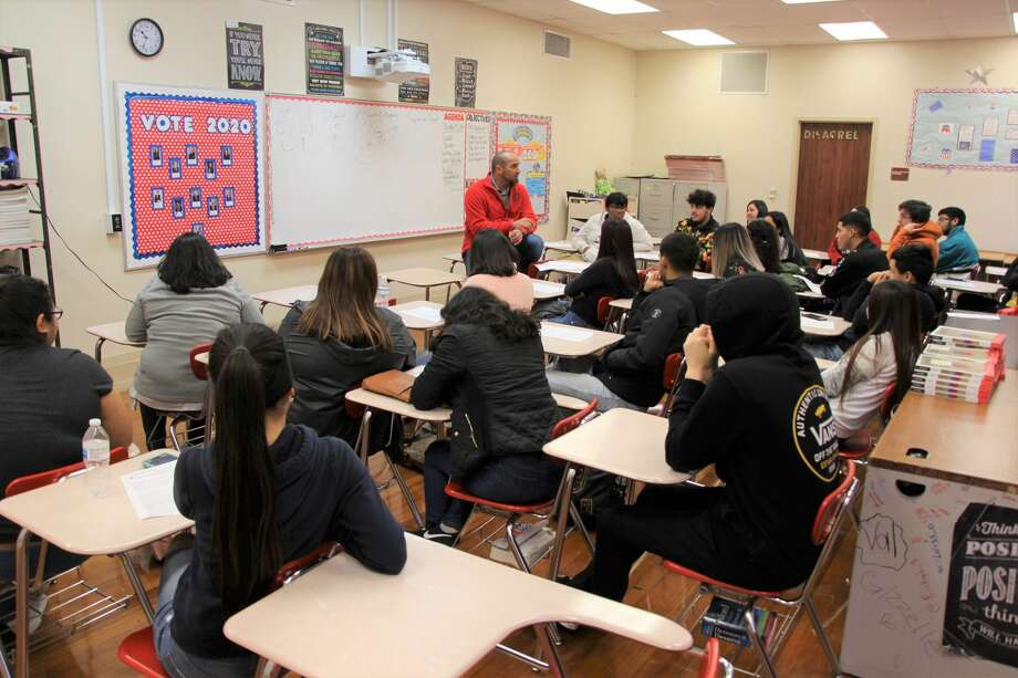 In this file photo, Webb County Judge Tano Tijerina speaks with a government class at Martin High School. Photo: Courtesy